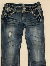 Preowned: Almost Famous Jeans Size 1 Distressed Blue, Button