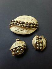 Vintage Costume Jewelry, Kramer Brooch & Earrings, Leaf Pin