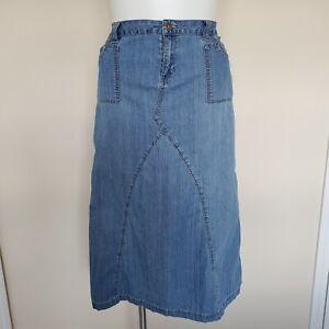 Baccini Plus Size 18W Long Stretch Denim Blue Jean Skirt Modest Pockets No Slits