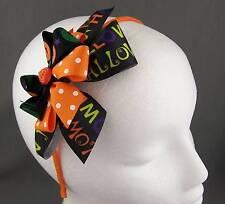 Orange Black halloween bow pumpkin ribbon wrapped thin skinny headband hair band