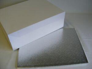 "Silver Oblong Cake Drum & White Cake Box  - 16""x 12"" or 18""x 14"""