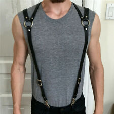 Mens Harness PU Leather Harness Men Punk Adjustable Body Chest Half Harness Susp