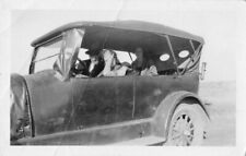 MYSTERY WOMAN DRIVING CONVERTIBLE CAR W/ PASSENGERS VTG ANTIQUE PHOTO 202