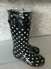 NEW! Women's Tall Rain Boots black White Dots Rubber Size 8