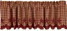 Handkerchief Style Country Window Valance Burgundy Star Patch Red Dark Tan Check