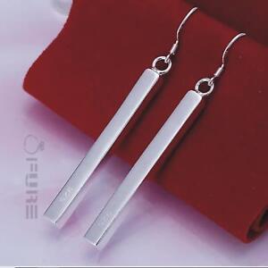 Luxury 925 Sterling Silver Filled Long Bar Drop Dangle Party Ear Stud Earrings
