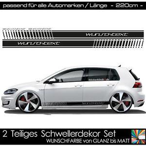 Auto Aufkleber Schweller Wunschtext passend für VW Golf Steintenstreifen