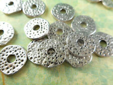 40 Silver Plated Hammered Donut Beads Findings 35040