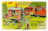 1941 RARE & VINTAGE HILLBILLY POSTCARD Humor Funny Cartoon Country Relax Coffee