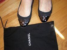 CHANEL SOFT Classic RIBBON Patent & LAMB SKIN Ballerina Flats Shoes sz 38 MINT
