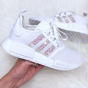 Size 8 - adidas NMD R1 White with Swarovski Crystals AB