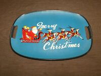 "VINTAGE 17 1/2""  SANTA CLAUS & REINDEER MERRY CHRISTMAS PLASTIC SERVING TRAY"