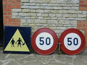 3 Vintage French Road Signs, Metal, Enamel, Large 70cm