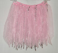 Pink Ribbons Silver Beads Tutu Skirt Ballet Dance Costume Dress Up One Sz Child