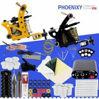 Tattoo Kit Completo di Due Mitragliatrice Set 6 Colori Inchiostri Nero Accessori