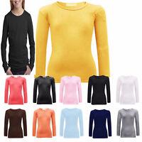Girls Plain Long Sleeve Tops Kids Crew Neck Tee T-Shirts Age 2-13 Years