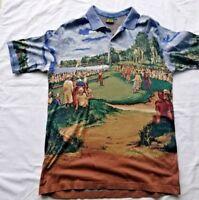 Bobby Jones Masters Graphic Scene Painting Golf Polo Italy Short Sleeve XXL