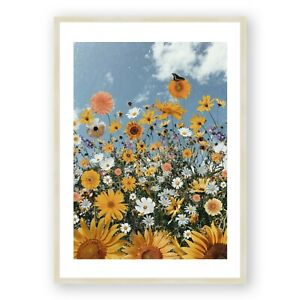 Yellow Sunflower Framed Print , Colorful Wall Art , Cheerful Room Decor