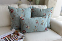 Shabby Chic French Country Cottage Floral Blue Sofa Throw Pillow Cushion Cover