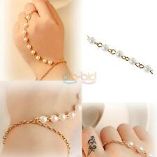 Women Punk Retro Pearl Bracelet Bangle With Ring Link Hand Chain Jewelry