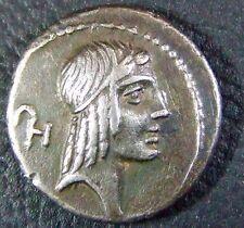 CALPURNIA (90 BC) LUCIUS CALPURNIUS PISO FRUGI DENARIUS, MINT MARK ULTRA RARE!