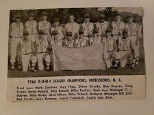 Greensboro North Carolina & West Valley California 1966  Baseball Team Picture