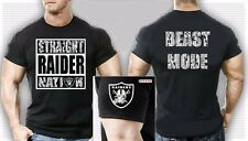 2XLarge Oakland Raiders Men's Straight Raider Nation Beast Mode T-Shirt Black