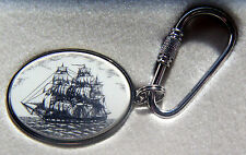 Key Ring Barlow Scrimshaw Carved Painted Art Silver Constitution Sailing 302203