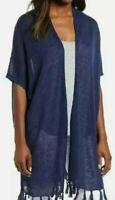 Tommy Bahama Size Large Women's Lea Long Fringe Cardigan Navy MSRP $125