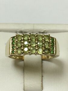 Lovely 9 Carat Yellow Gold PERIDOT & EMERALD CLUSTER Ring Flash