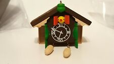 DOLLHOUSE MINIATURE WOODEN CUCKOO CLOCK WITH PINE CONE WEIGHTS ON CHAIN AND BIRD