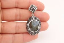 Turkish Jewelry Round Labradorite Black White Zircon 925 Sterling Silver Pendant