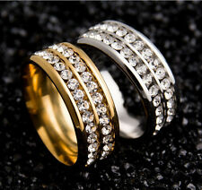 Unisex Fashion Titanium Steel Band RingsDouble Rows Rhinestone Finished Jewelry