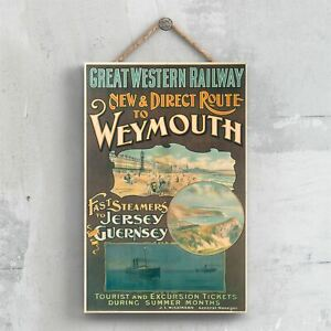 WEYMOUTH TO JERSEY ORIGINAL NATIONAL RAILWAY POSTER ON A PLAQUE VINTAGE DECOR
