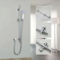 Stainless Steel Bathroom Shower Riser Rail Sliding Bar&Head 1.5m Hose Set Chrome
