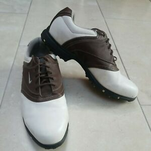 Men's Nike Waverly Last Shoes Golf Leather Brown & White Traction TAC 2006 UK 11