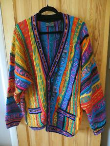 ladies large wool multi coloured pattern cardigan COOGI australia used