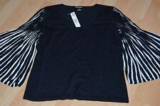NEW ELLEN TRACY Black & White Sweater INK Accordion Sleeves Size L Large $278