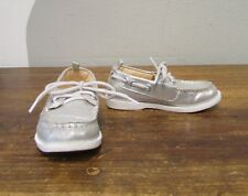 GYMBOREE Girls Silver Lace Up Loafer Flats - 9