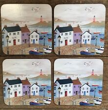 4 Seaside Drinks Coasters Coffee Mats Table Dining Lighthouse Harbour Holliday