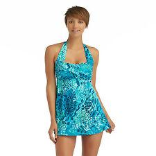 Tropical Escape-  Glam Swim Dress - Camouflage Kisses, size: 8, Blue & Green