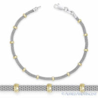 3.9mm Bead 2.4mm Mesh Link Chain Bracelet .925 Sterling Silver & 14k Yellow Gold