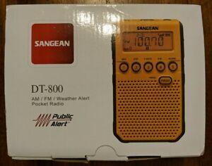 Sangean DT-800 YL AM/FM Weather Alert Pocket Radio Yellow New Open Box