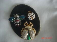 FUN LOT 3 Vtg. BUG / INSECTS PINS BROOCHES Enamel BEE Rhinestone Beetle Ladybug