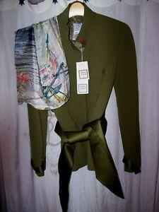 NWT $850 women's sz 2 lux Herve Leger Paris olive blazer & belt + island scarf