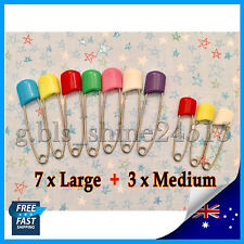 7xL + 3xM Nappy Baby Safety Pins Metal Plastic Craft Jewelry Sewing diaper Dress