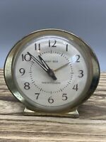 VINTAGE MADE IN USA WESTCLOX BABY BEN WIND UP ALARM CLOCK  WHITE FACE