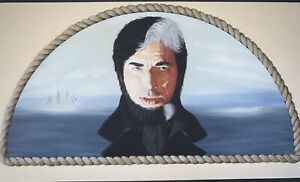 C.1970's~JOHN CARR~SEA EXPLORER, FRAMED WITH ROPE (ALL PAINTED)~IN GOUACHE