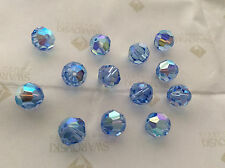 12 Swarovski #5000 10mm Crystal Light Sapphire AB Faceted Round Beads