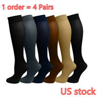 (4 Pairs) Compression Socks Stockings Graduated Support Men's Women's (S-XL)